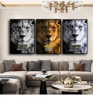 animal art wild lions motivational wall art posters prints modern canvas painting wall pictures for office bedroom cuadros decor