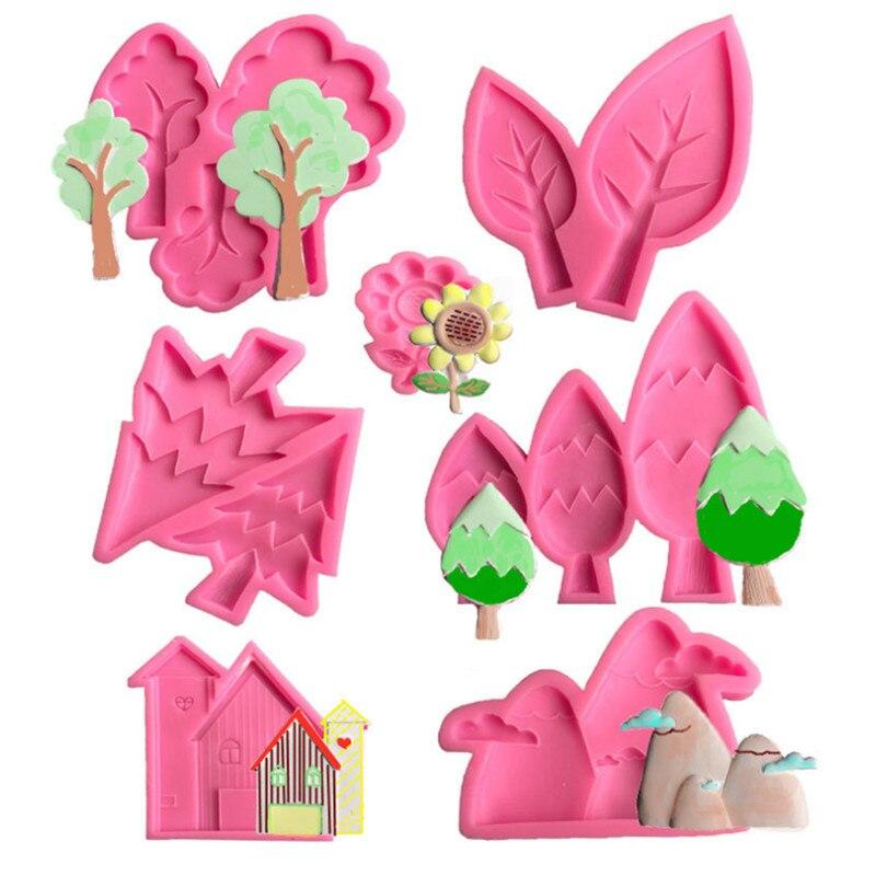 Цветочная бутылка дерево самолет кролик различные стили силиконовая форма сахарная мастика помадка торт декоративный инструмент форма дл...