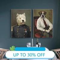 Toile de peinture danimaux  affiches de chien militaire costume jupe  tableau dart mural pour decoration de salon  decoration de maison