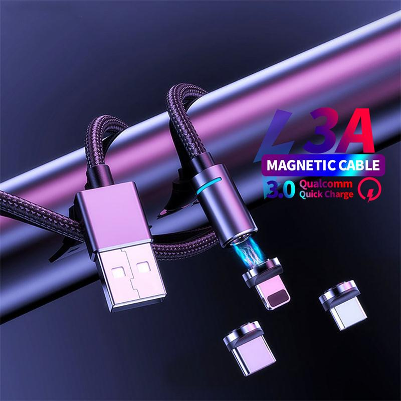Cable Micro USB magnético de 1M 2M para iphone Samsung Xiaomi USB tipo C 3A, cargador magnético de carga rápida, adaptador de cargador, Cable de teléfono móvil
