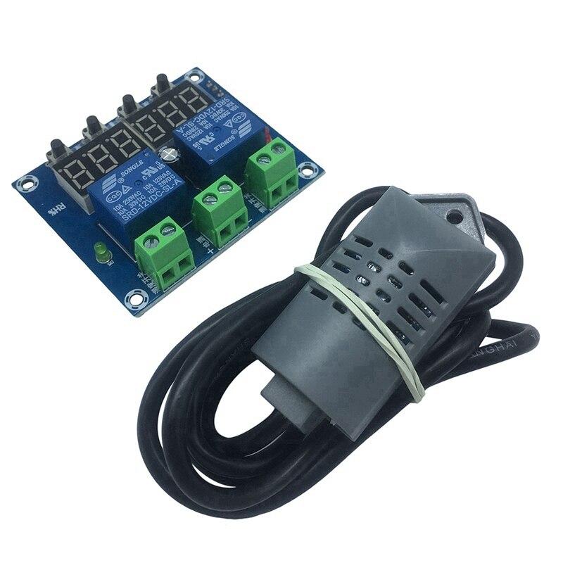 XH-M452 ترموستات درجة الحرارة وحدة تحكم الرطوبة تيار مستمر 12 فولت LED شاشة ديجيتال مخرجات مزدوجة