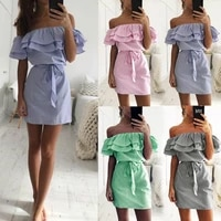 zogaa womens summer dress 2021 striped dress off shoulder striped dress vestidos casual fashion woman elegant party dresses