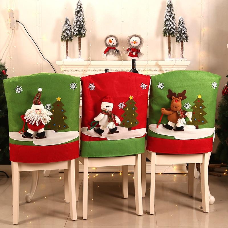 عيد الميلاد غطاء مقعد الطعام سانتا كلوز ثلج كرسي حامي تمتد ل كرسي مطبخ مقعد فندق كراسي مرنة غطاء