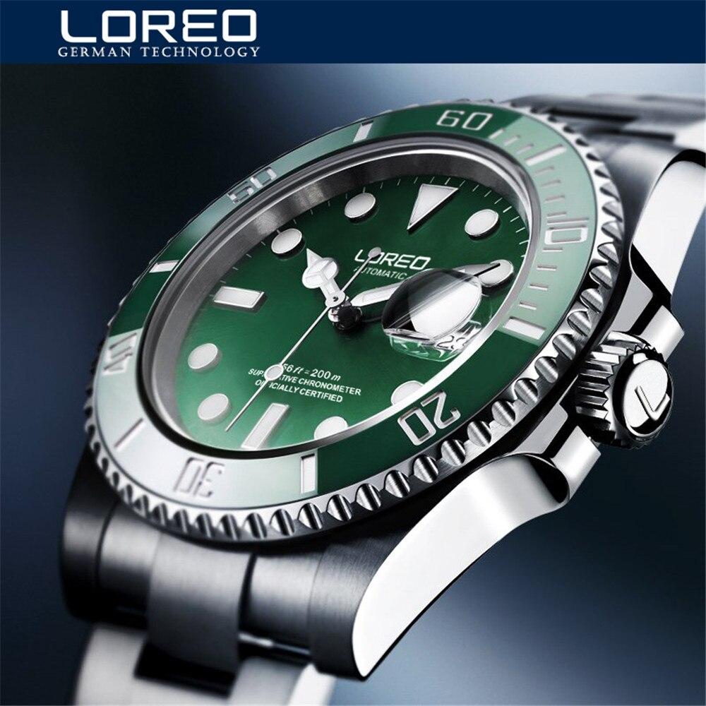 LOREO-ساعة يد ميكانيكية فاخرة للرجال ، ساعة يد رجالية ، مينا خضراء أوتوماتيكية من الفولاذ المقاوم للصدأ ، مقاومة للماء ، 2020 متر ، 200