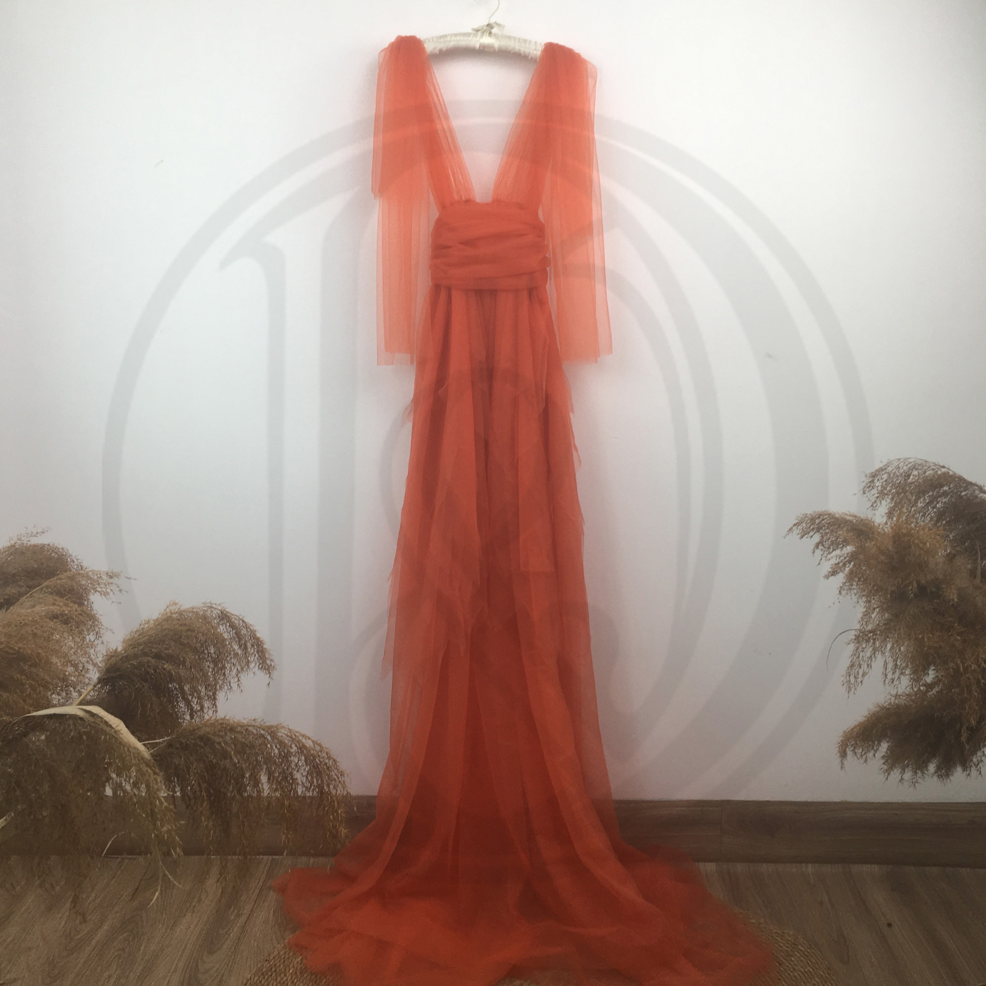 Deep V Photo Shoot Tulle Maternity Maxi Long Dress Pregenant Voile Gown Party Robe for Woman Photography Prop Baby Shower Gift enlarge