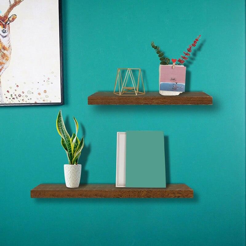 3 قطعة/المجموعة الخشب العائمة رفوف جدار رف معلق مع الأقواس غير مرئية رف جدار للتخزين والعرض