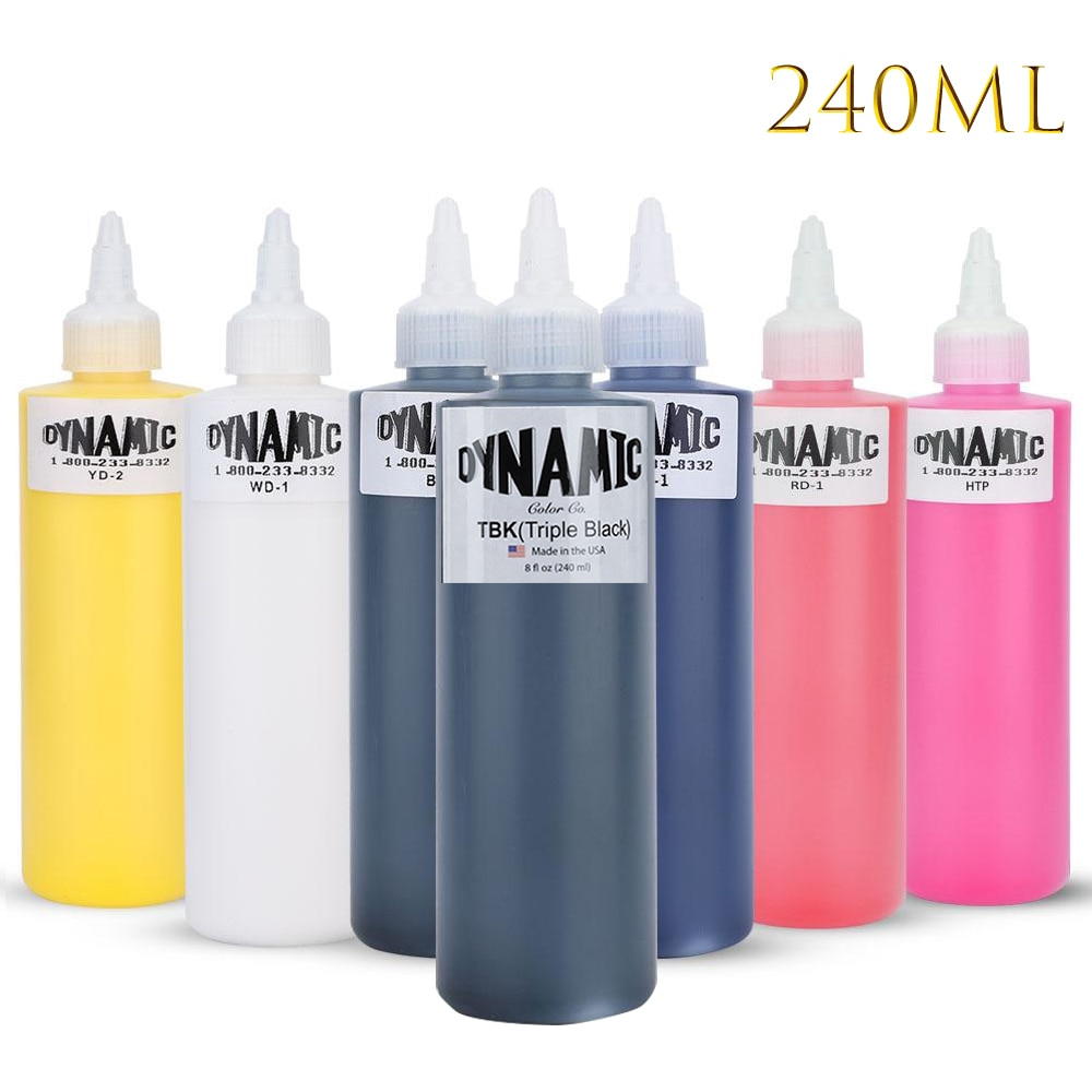 DYNAMIC 8 Colors 240ML Professional Black Tattoo Ink For Body Art Natural Plant Micropigmentation Pigment Permanent Tattoo Ink