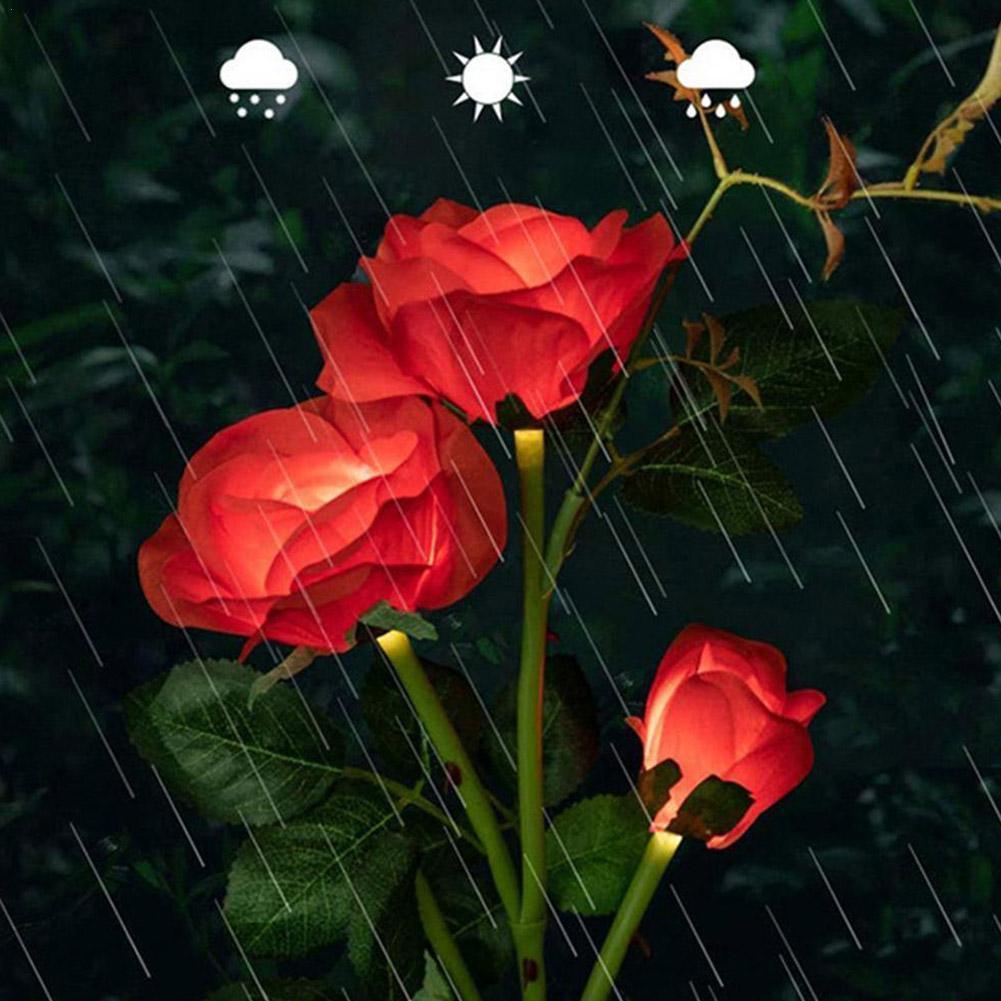 flor solar luz rosa flor lampada led luz de energia solar para a estaca ao ar livre