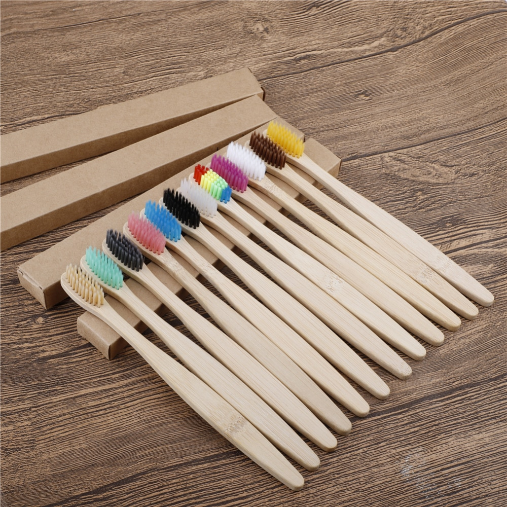 1000 Pack Bamboo charcoal Toothbrushes Soft Bristles teeth brush with travel case Eco-Friendly Oral Care Adults logo customize
