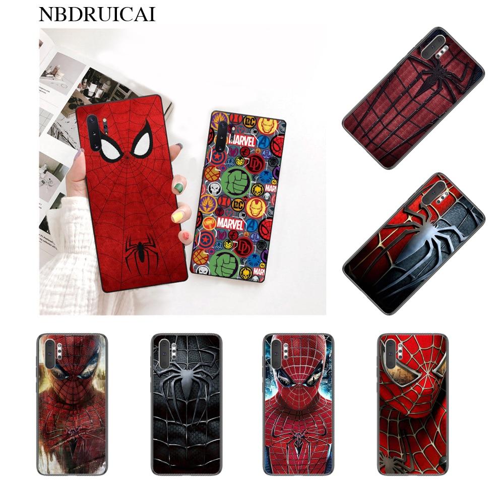 NBDRUICAI Spiderman Spider Man SuperHero Phone Case for Samsung Note 3 4 5 7 8 9 10 pro A7 2018 A10 A40 A50 A70 J7 2018