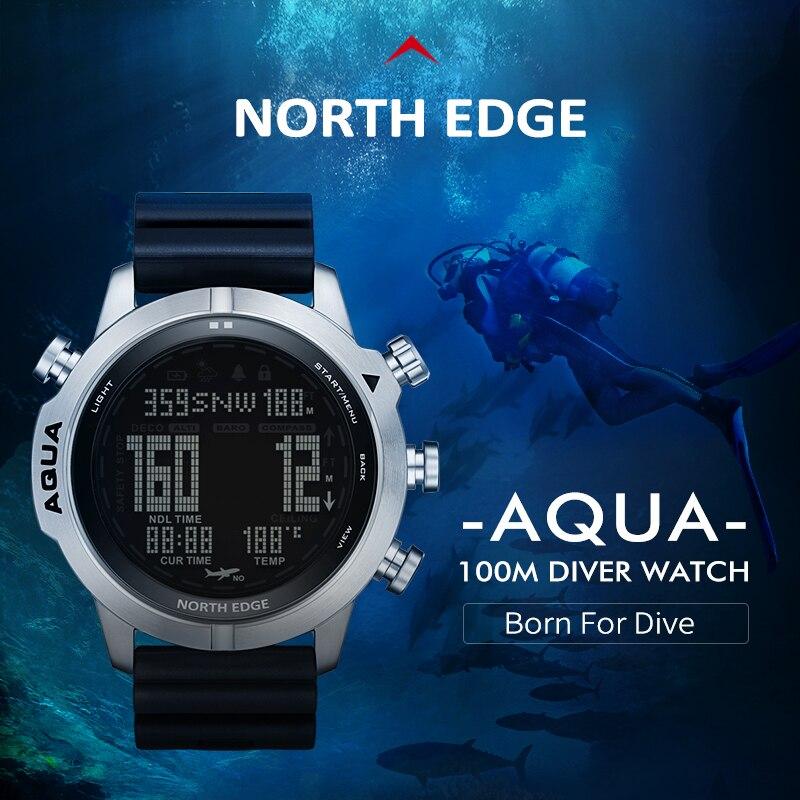 نورث ايدج ساعة ذكية للرجال احترافية الغوص الكمبيوتر الغوص (لا ديكو الوقت) مقاوم للماء 100 متر البوصلة الرقمية مقياس الارتفاع على مدار الساعة