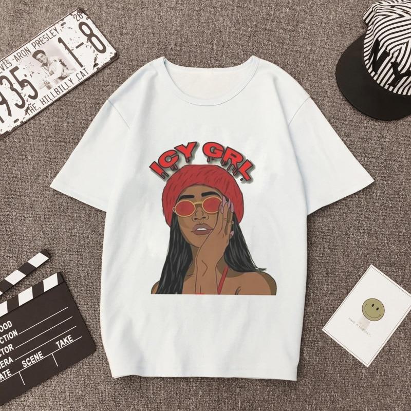2020 летняя модная женская футболка в винтажном стиле Харадзюку С героями мультфильмов ледяной девушки, розовая, белая, непрозрачная, повседневная, Vogue, футболка с надписью Queen