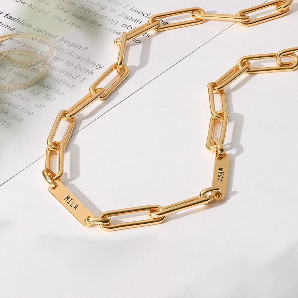 HUHUI Custom 1-6 Names Necklace Personalized Engraved Nameplate Pendant Pectangular Chain Women Family Jewelry Birthday Gift
