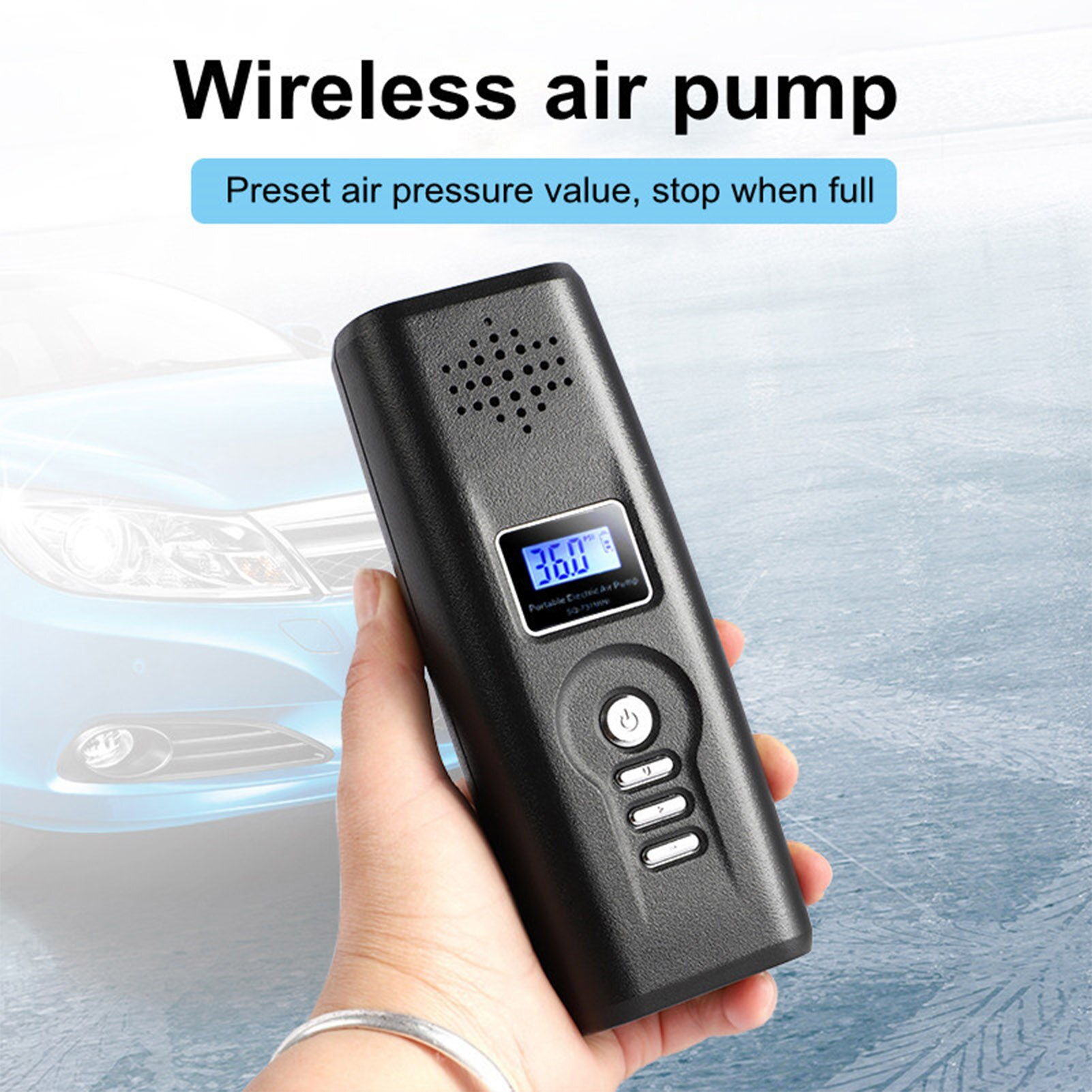 Electric Car Air Compressor Pump 140PSI Wireless Rechargeable Tire Inflator Moto Car Air Pump Tyre Inflator Digital LCD Display