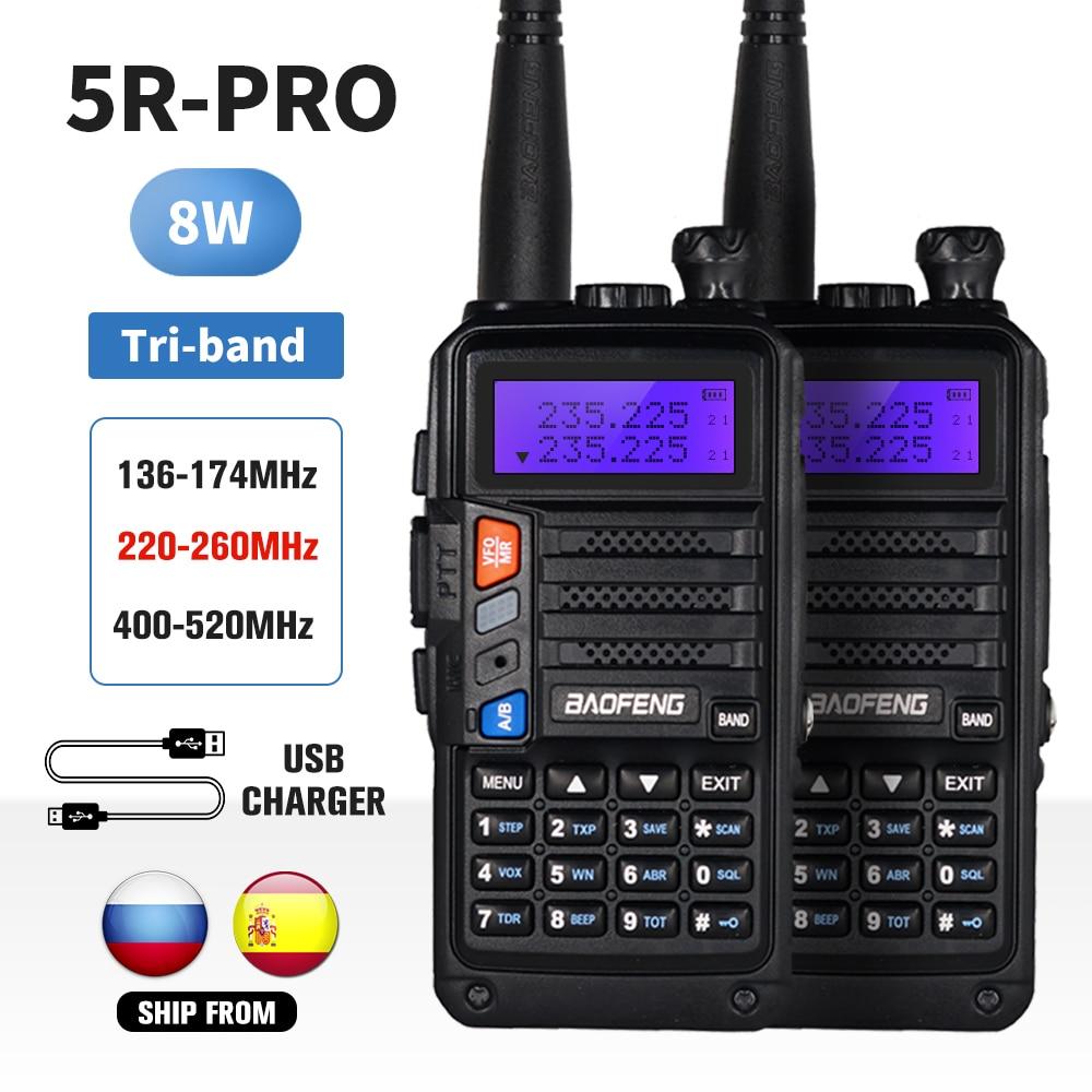 2pcs tri band baofeng uv 5r pro walkie talkie 8w alta potencia radio em dois sentidos