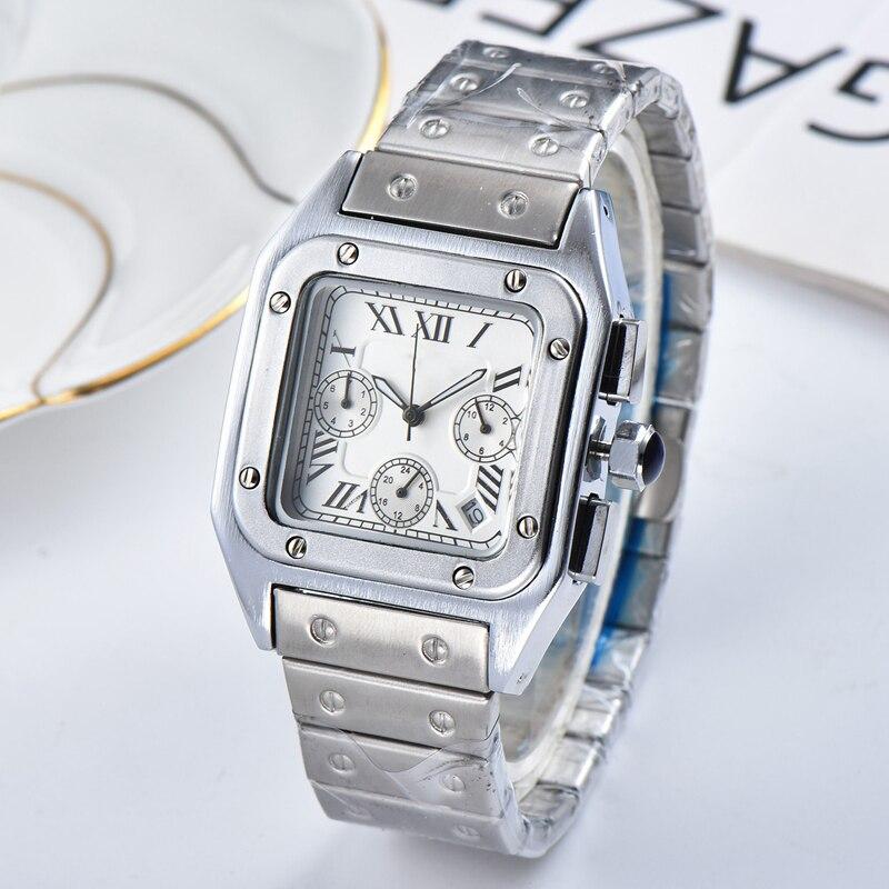 Top Brand Square Watch Men Classic Vintage Men Quartz Watch Stainless steel dial Luxury Clock Montre Homme