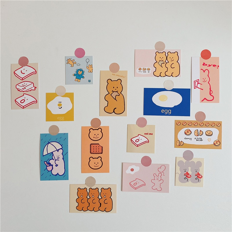 Portatarjetas pequeñas con forma de galleta, 14 hojas de accesorios para fotos, Cuenta de mano, cubierta de pared del dormitorio, cubierta para teléfono móvil, decoración Diy de dibujos animados, papelería