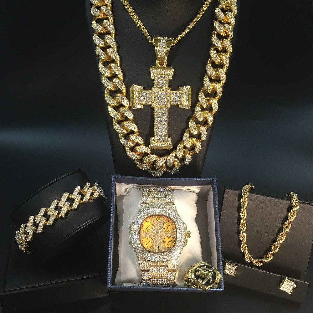 Luxury Men Gold Watch Hip Hop Men Necklace Watch & Necklace & Bracelet & Ring & Earrings Combo Set Ice Out Cuban Necklace Chain