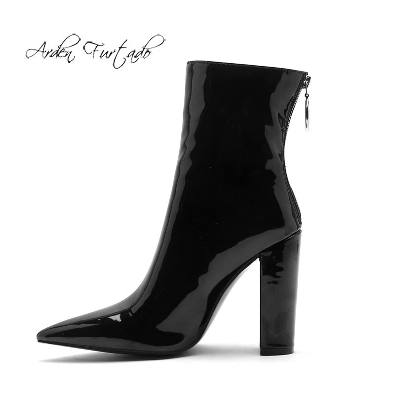 Arden Furtado Fashion Womens Shoes Winter Pointed Toe Chunky Heels Zipper Sexy Elegant Ladies Boots back zipper Short Boots 45