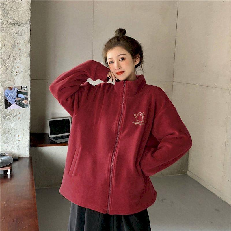 Осень-зима 2021, флисовая куртка, корейский Свободный Повседневный Топ, модный топ оверсайз, женская одежда, одежда оверсайз, одежда с цветным...