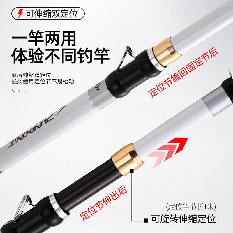 Taigek Carbon Fiber Fishing Rod Telescopic Spinning Short Sea Rod Travel Lightweight Port write Fishing Rod 3.8-6m 90cm enlarge