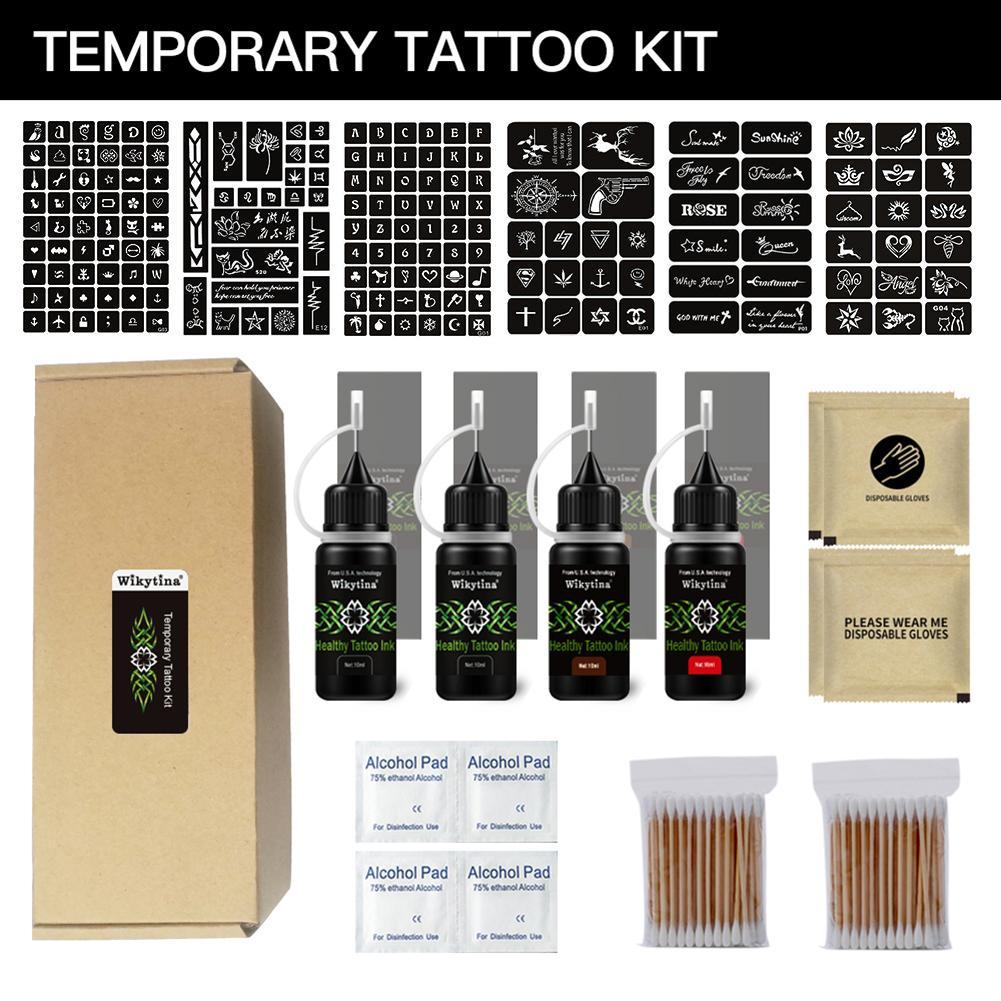 Organic Jagua Fruit Gel Temporary Tattoo Ink Kit Semi-Permanent Tattoo Set With 171 Pcs Tattoo Stencils Natural & Long Lasting