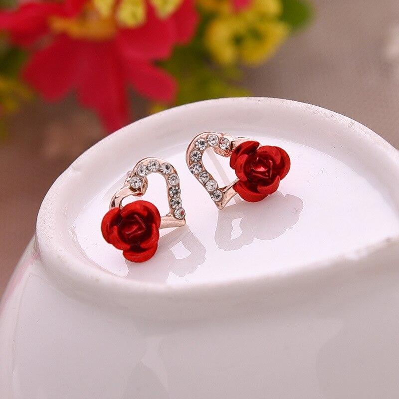 2019 coração roseta flor banhado a prata 925 brincos de cristal piercing simulado pérola brincos jóias presente para o amante