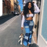 2021 casaul women jeans color patchwork ripped flare pants high waist autumn long jeans pants clothes for women outfit