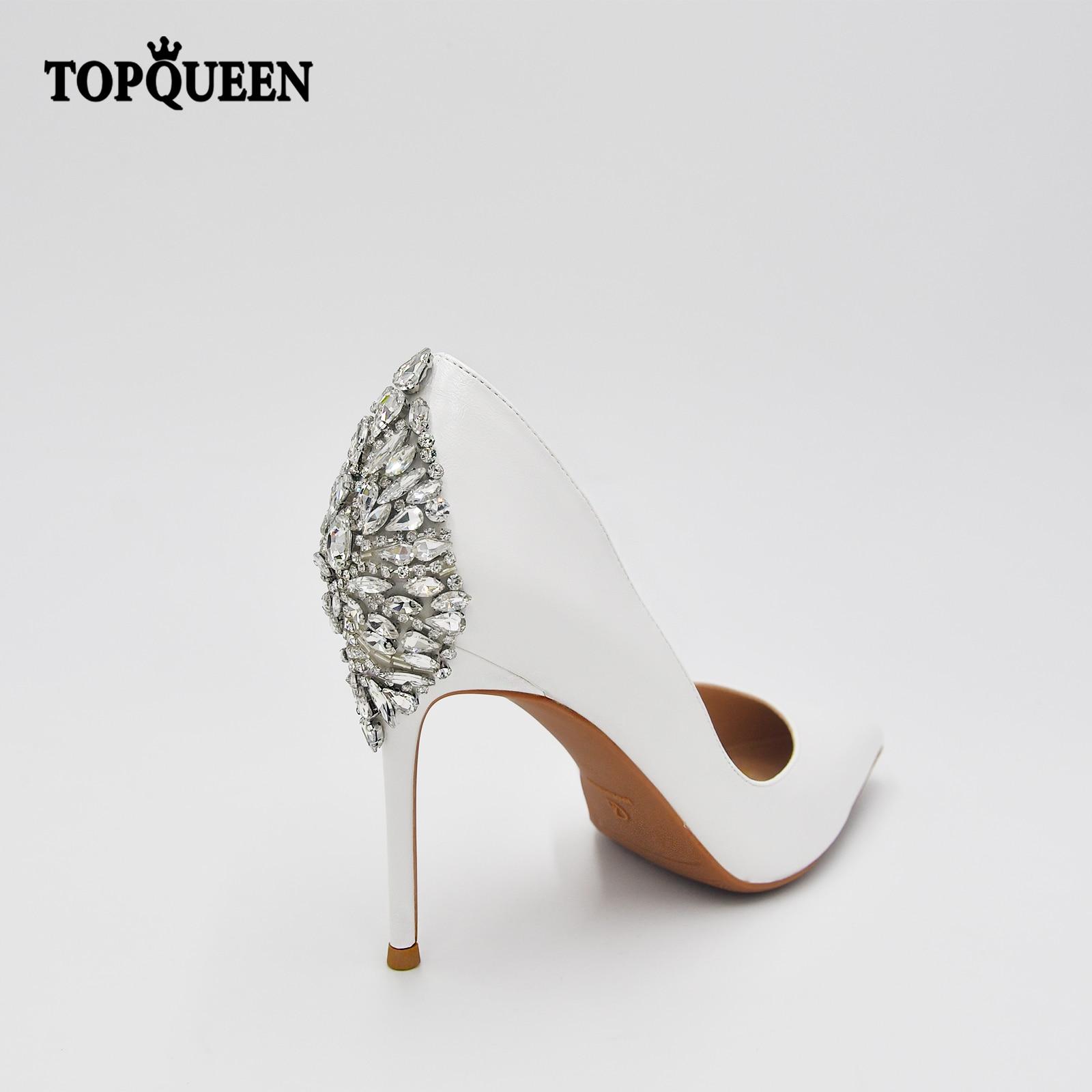 TOPQUEEN A18 أحذية الزفاف موضة حجر الراين الأبيض الكعوب الصيف الصنادل وأشار فستان الزفاف أحذية الحفلات للانضمام إلى مأدبة
