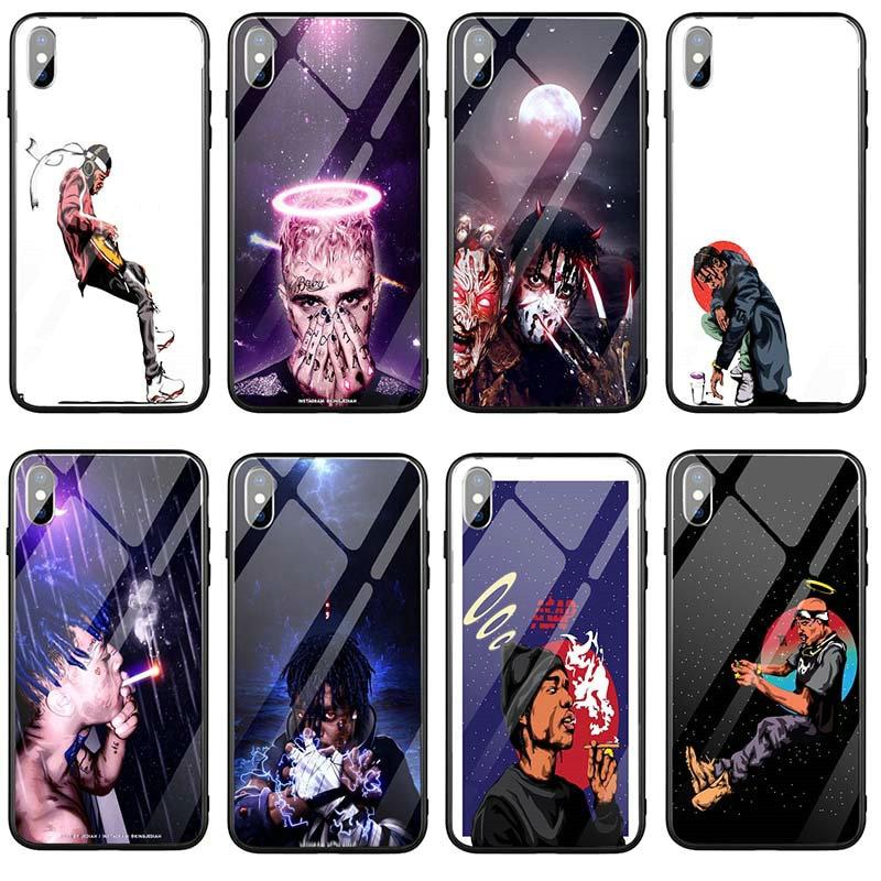 Casos de telefone móvel de vidro temperado para iphone 8 7 5 5S se 6s plus x xr xs 11 pro max 10 coque sacos hip hop travis scott