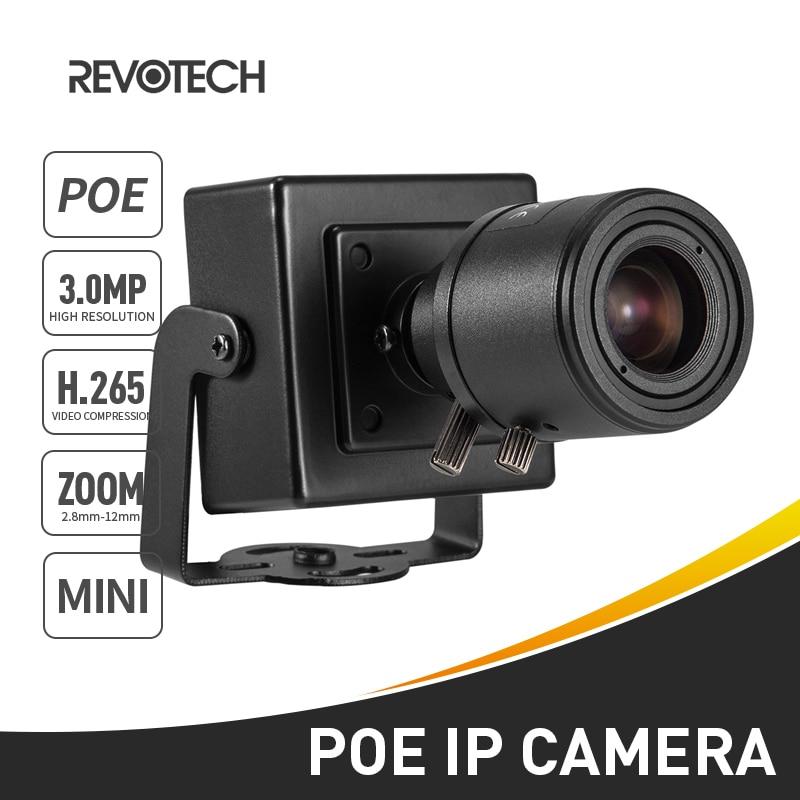 POE H.265 3MP 1296P / 1080P 6-22mm IP Camera Mini Type Manual Zoom Len Indoor Security P2P CCTV System Video Surveillance HD Cam