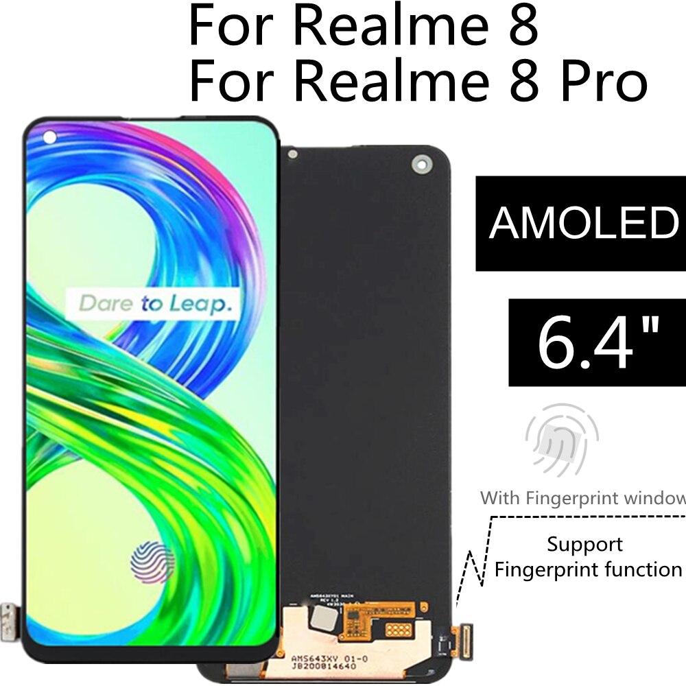 ЖК-дисплей 6,40 дюйма AMOLEDFor Realme 8 RMX3085, сенсорный экран в сборе, замена для Realme 8 Pro RMX3081, ЖК-дисплей
