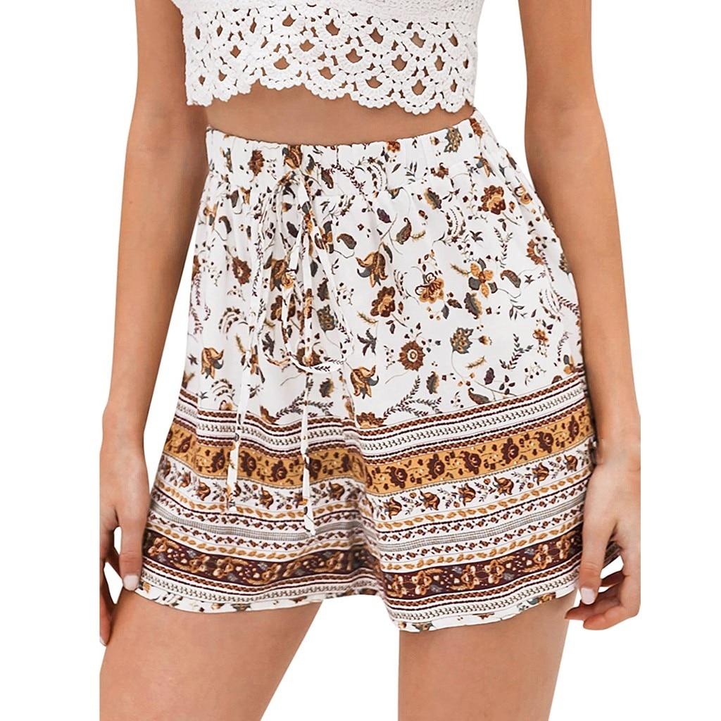 Pantalones Cortos De Mujer De moda De impresión cómodo cordón Casual Floral...