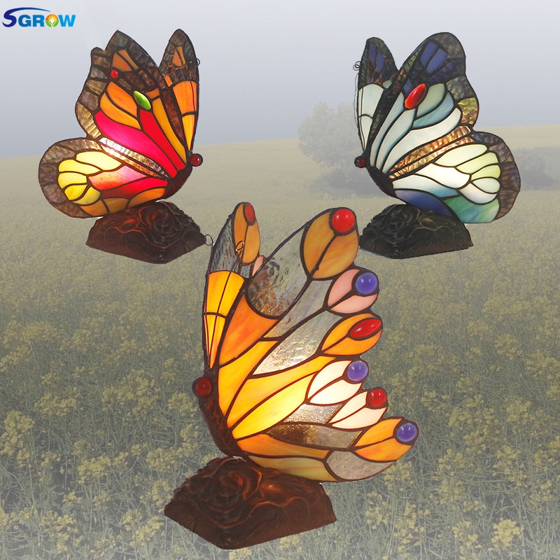 SGROW vidrio hecho a mano mariposa luces Led lámpara Led lámparas para...