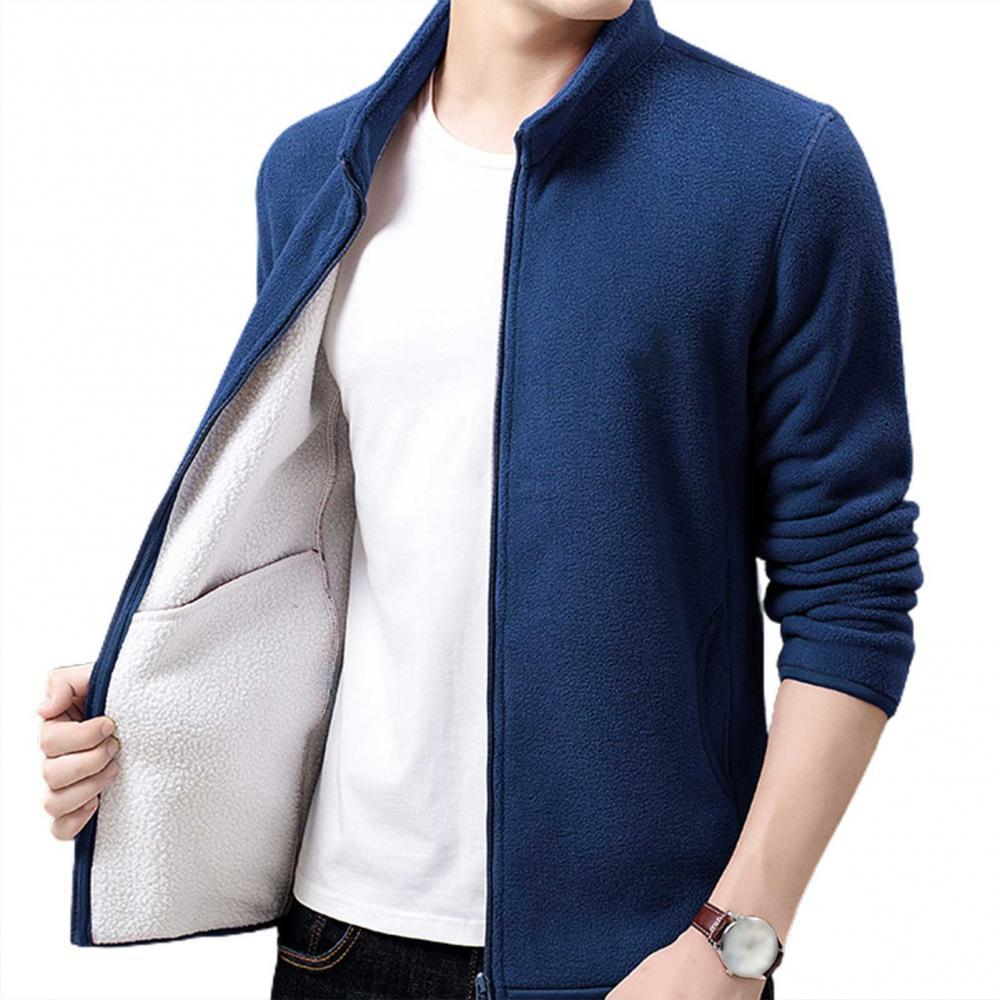 Men Autumn Winter Stand Collar Long Sleeve Coat Plush Warm Zip Jacket Outerwear stand collar zip front epaulet trucker jacket
