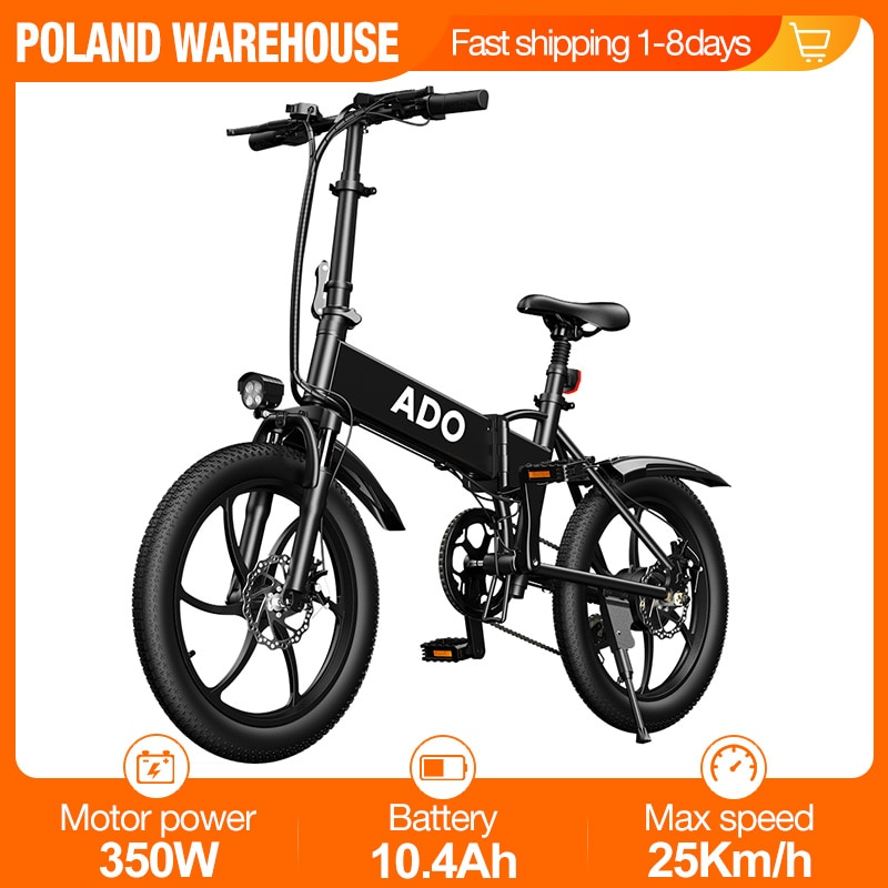 [EU UK Stock] ADO A20 Foldable Electric Bicycle 20Inche Tire E bike 350W DC Motor 35km/h Removable Battery Mountain Bike
