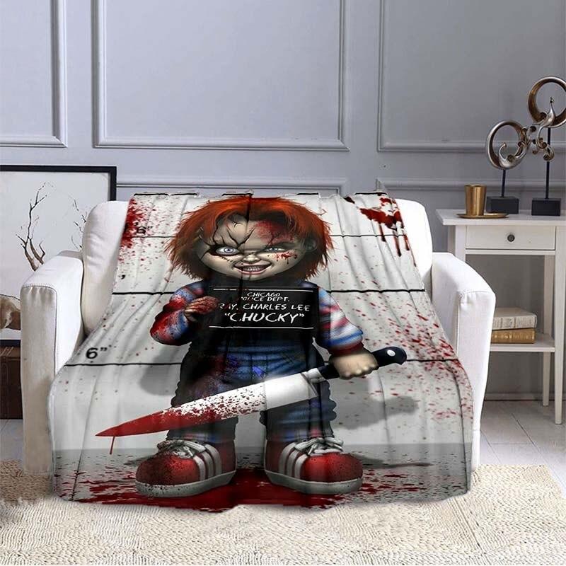 شخصيات فيلم الرعب رمي بطانية الفانيلا طبقة واحدة بطانية لغرفة النوم هالوين الديكور للأطفال الكبار