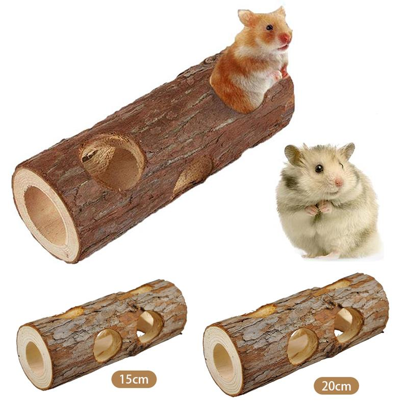 Hamster Tunnel Pipeline Wood Small Pets Training Toys Squirrel Guinea Pig Chinchilla Small Animal Supplies Cage Accessories