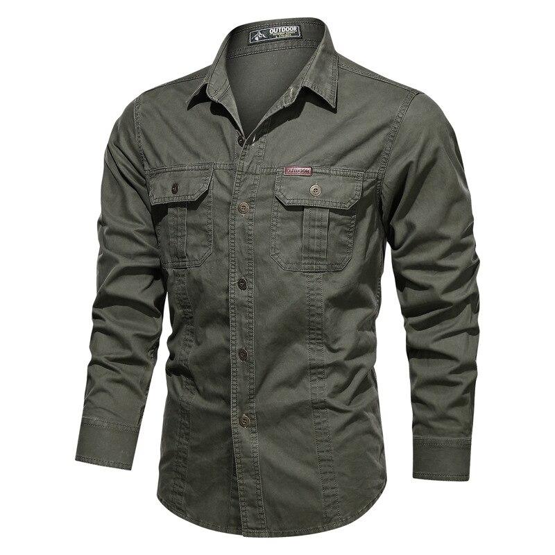 Рубашка мужская с длинным рукавом, 100% хлопок, армейская зеленая рубашка