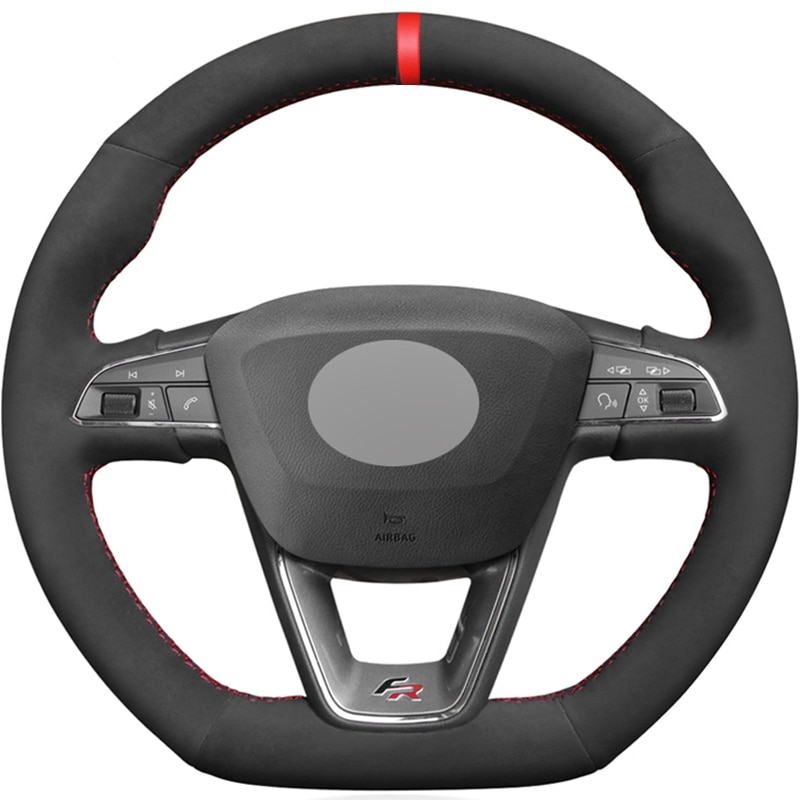 Black Suede Red Marker Car Steering Wheel Cover For Seat Leon Cupra R Leon ST Cupra Leon ST Cupra Ateca Cupra Ateca FR