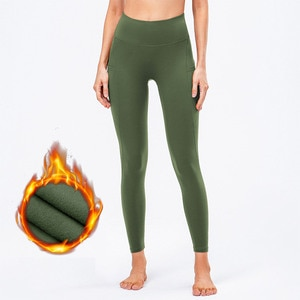 Women's Long Yoga Leggings With Pockets High Waisted Workout Athletic Thicken Running Pants