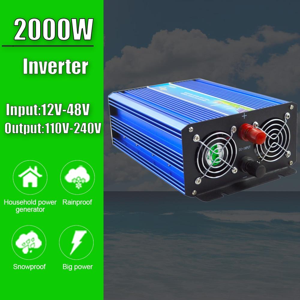 2000W خارج الشبكة محض موجة جيبية العاكس ل نظام الرياح الشمسية ل 12V/24V/48V المدخلات 110V 220V DC الناتج استخدام المنزلي