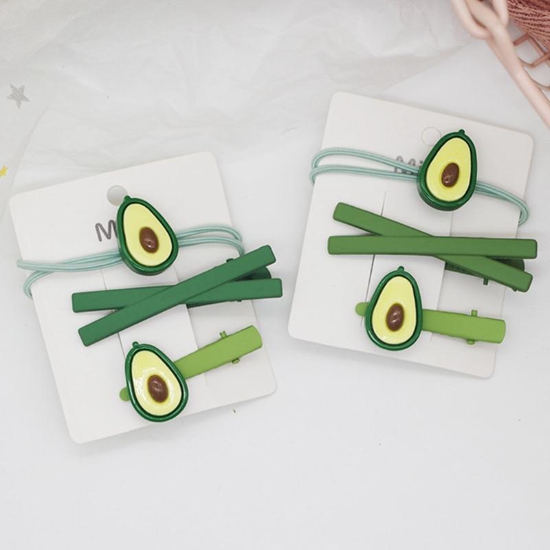 3 pçs/set bonito verde abacate hairpin bandas de borracha headwear conjunto moda frutas grampos de cabelo bandas de cabelo feminino meninas acessórios de cabelo