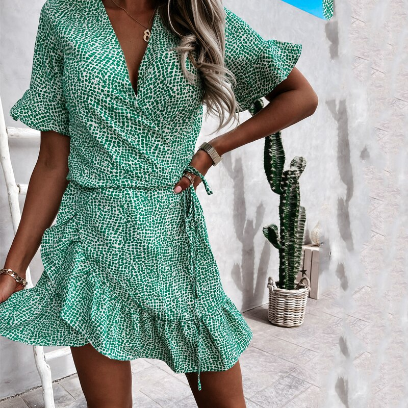 Women Dresses Summer New Floral Print Boho Beach Mini Dress Ruffle Short Sleeve A Line Dress 2021 Se