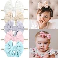 lace bowknot baby girl headband korean princess elastic nylon hair bands handmade fashion newborn infant kids accessories