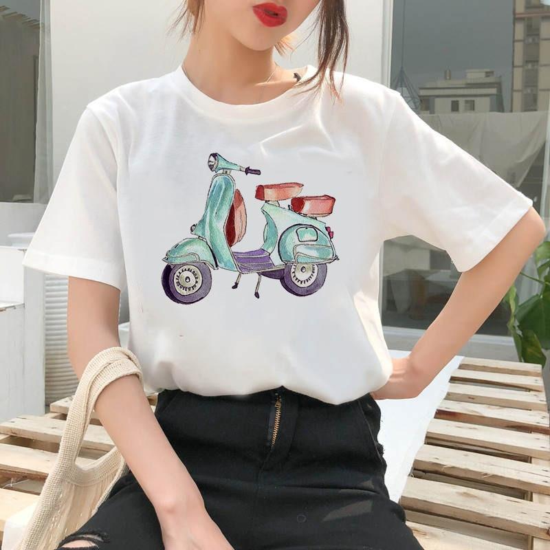 Aesthetic Tshirts Bicycle Printed Women T Shirt Short Sleeve Casual White Top Tee Female Harajuku T-Shirts Woman Clothes