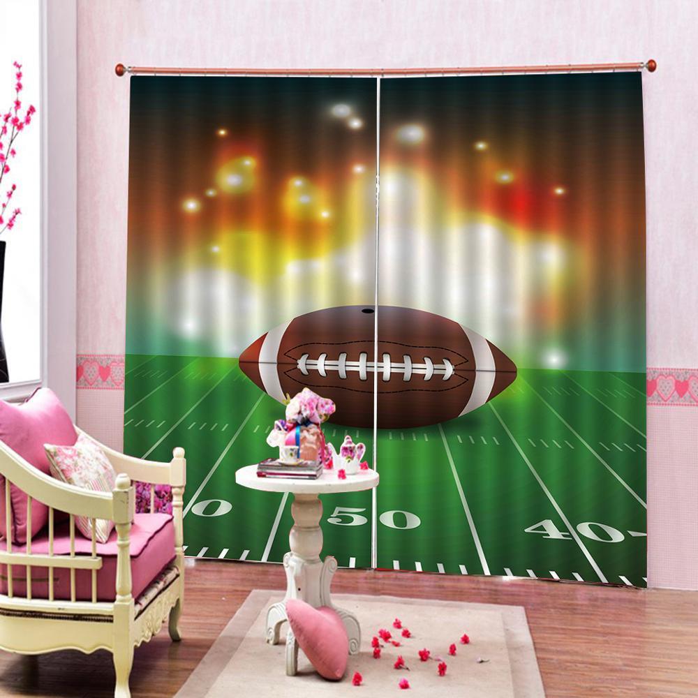 Спортивные оконные шторы с футбольным мячом, со свойствами на траве, художественные графические шторы для гостиной, занавески, Декор