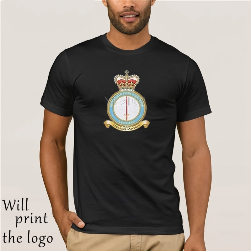 2019 verano gran oferta estilo de marca de moda Casual camiseta RAF Station bordado Logo-Oficial Royal Air Force Camiseta de algodón
