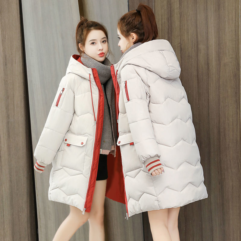 2021 New Fashion Women's Parka Jackets High Quality Cotton Padded Warm Thicken Hooded Ladies Winter Jacket Coat Long Sleeves