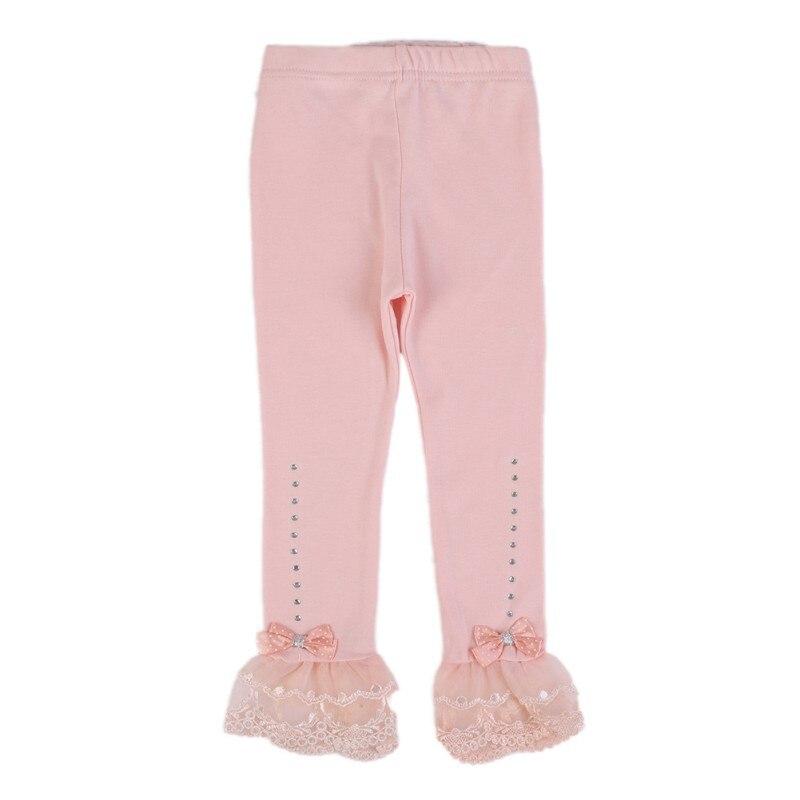 Niños Niñas pantalones princesa Legging primavera otoño Trim plisado de encaje de Leggings de diamantes de imitación de algodón polainas ropa Lassie